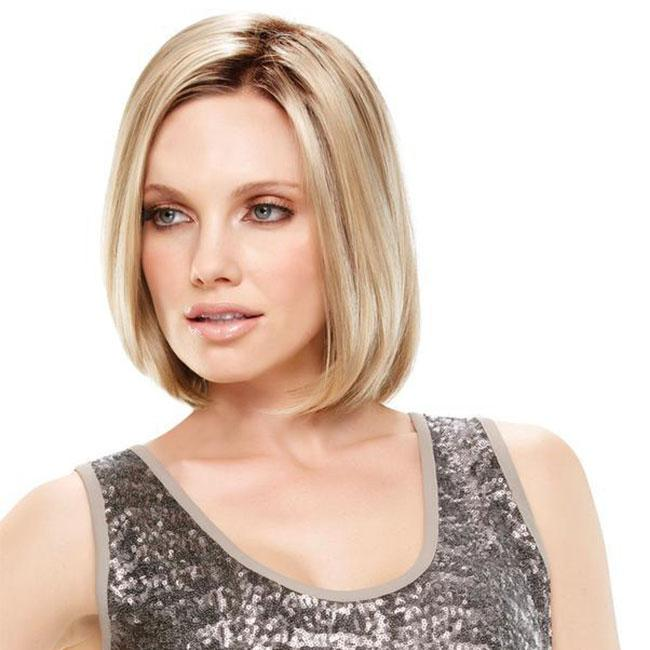 KAMI 094 Blonde Straight Bob Wigs no Bangs Affordable Chin Length Straight Bob Wig for Women