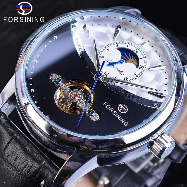Forsining Tourbillon Automatic Men Watch Mechanical Moon Phase Leather Male Watches