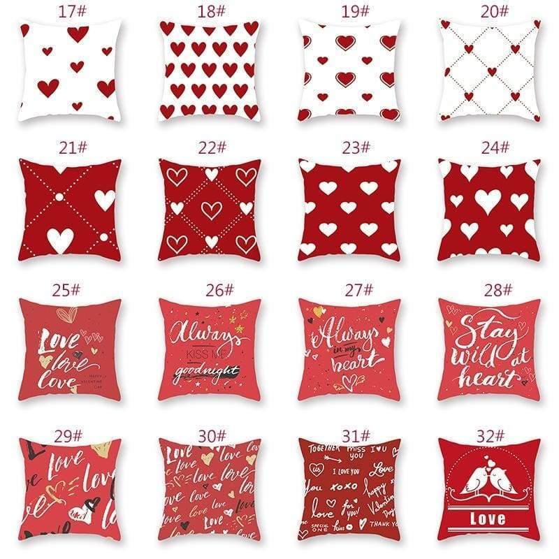 New Valentine's Day Pillow Covers Love Letter Couple Pillowcase Cotton Linen Throw Pillow Cover Home Sofa Car Decorative Pillow Home Decor