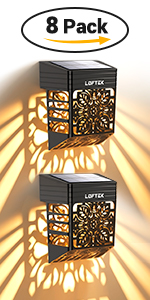LOFTEK Solar Fence Step Lights Outdoor, AUTO Turn ON/Off Solar Deck Lamps, Waterproof Garden Patio Decorative Fence Lighting for Porch, Yard, Patio, Front Door, Landscape, Stair, Warm White (2 Pack)
