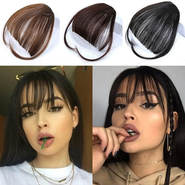 New fashion 3 Colors 2 Style Human Hair Air Bangs Clip In Bangs Front Neat Bangs Fringe Hair Women Clip In Hair Extensions Human Hair Bangs with Hair on The Temple
