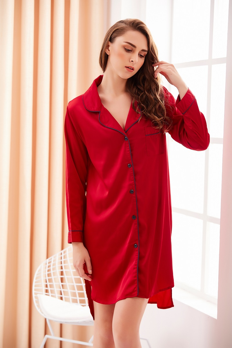 Casual Sexy Cotton,Polyester Long Sleeve Polo Plain with Pajamas(Plus Size)