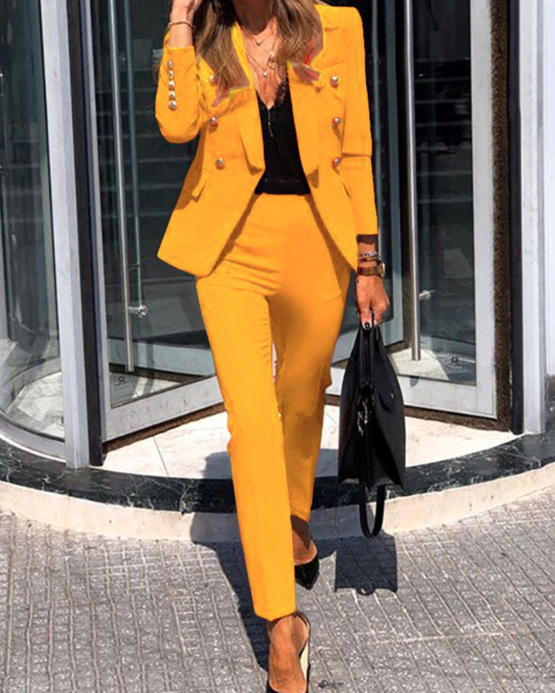 Fashion Casual Button Solid Color Lapel Two-Piece Suit