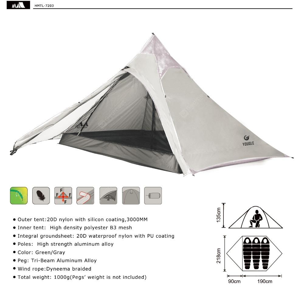Yougle 20D Double Layer 3 Men Three Person Backpacking Tent 3 Season For Camping Hiking Ultralight