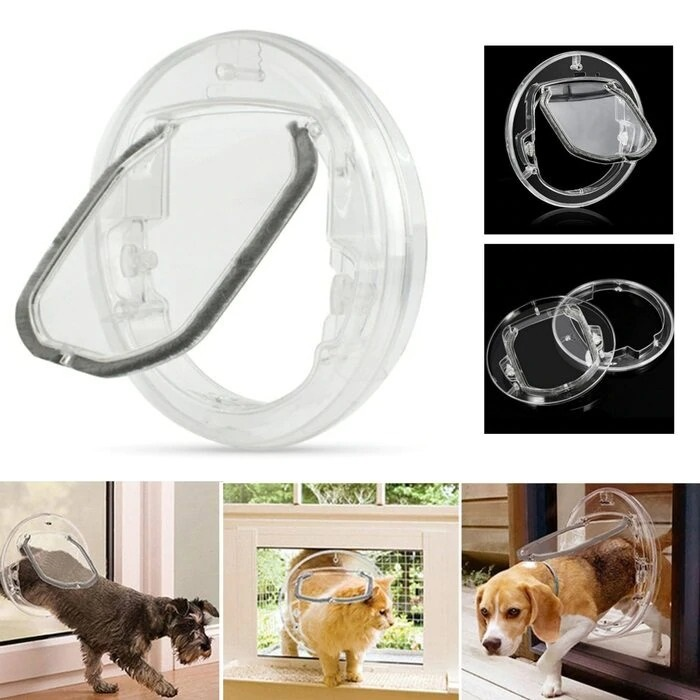 4-Way Transparent Pet Door Flap for Cats and Dogs