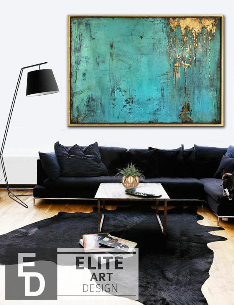 Large Canvas Wall Art Large Oil Painting Extra Large Painting Blue Painting Oversized Art Extra Large Wall Art Gold Leaf Abstract Painting