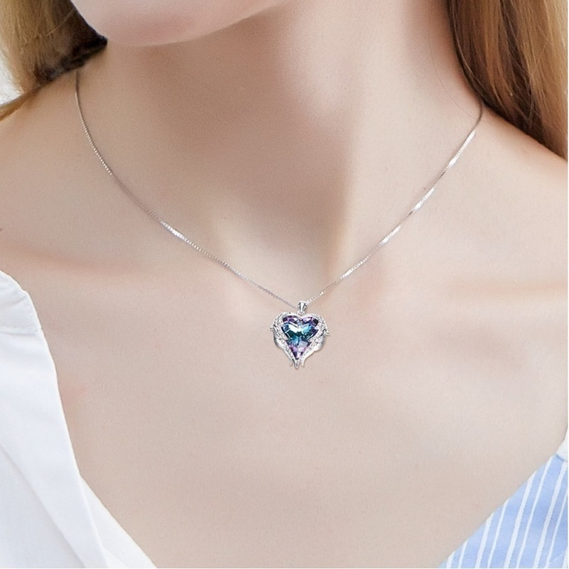 Angel Wings Pendant Necklaces Blue Crystal Heart Necklace For Women Christmas Jewelry Crystals