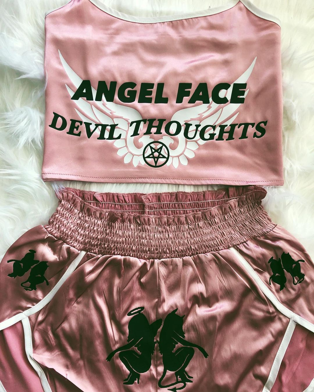 Angel And Devil Printed Two-piece Suit