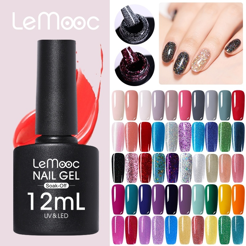 LEMOOC 12ml  Gel Nail Polish Red Grey Silver Series Soak Off Nail Art Gel Varnish 183 Colors