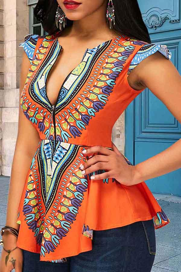 Positioning Printing Ethnic Style Top