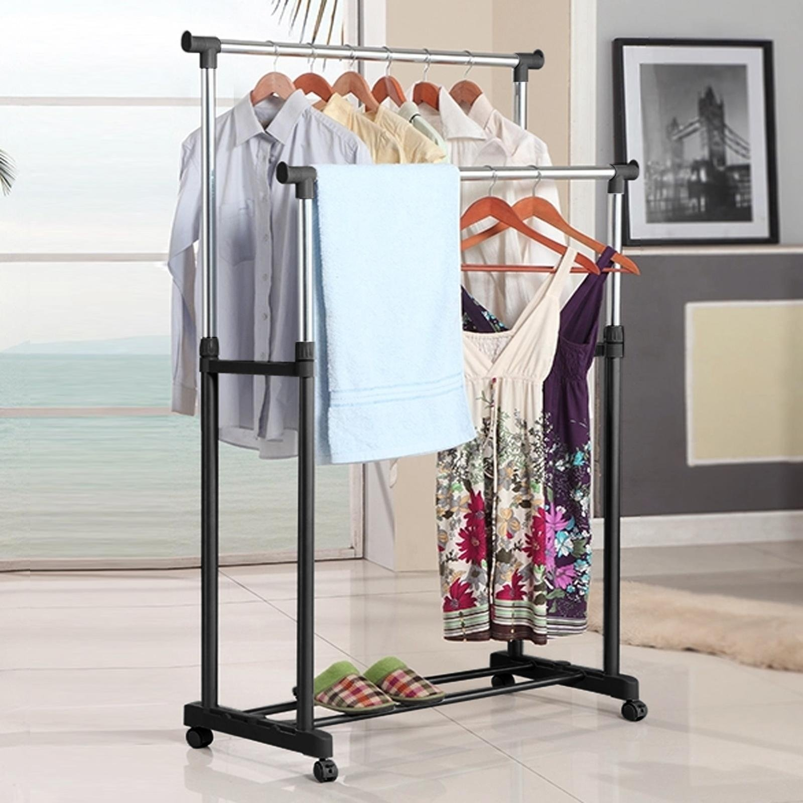 Portable Adjustable Double Clothes Garment Drying Hanging Racks Hangers With Castors and Shoe Rack