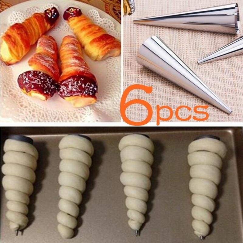 6 Pieces/pack Cone Shape Spiral Croissant Denmark Pointed Metal Spiral Baking Tool for Making Croissants Roll Bread (Color: Silver)