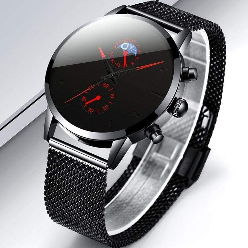 Men Stainless Steel Fashion Sport Mesh Leather Belt Strap Watch Luxury Quartz Wrist Watches Man Casual Business Watch Herren Uhren