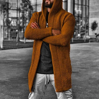Mid-length Loose Hooded Solid Color Casual Sweater