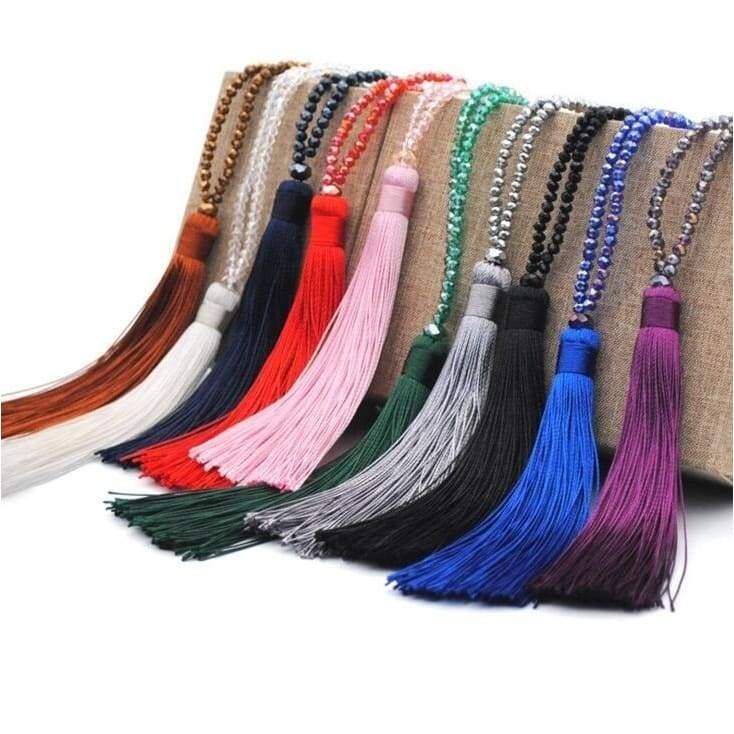 1PC Fashion Boho Long Fringe Tassel Necklaces Women Collier Femme Glass Beads Crystal Statement Collar Bohemian Jewelry
