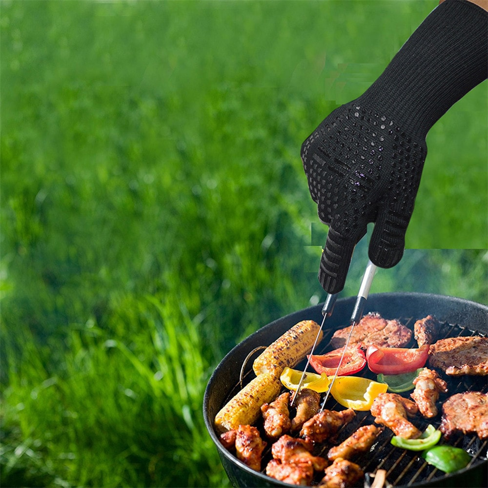 SKRTEN 300-500 Centigrade Extreme Heat Resistant BBQ Grilling Gloves Oven Mitts