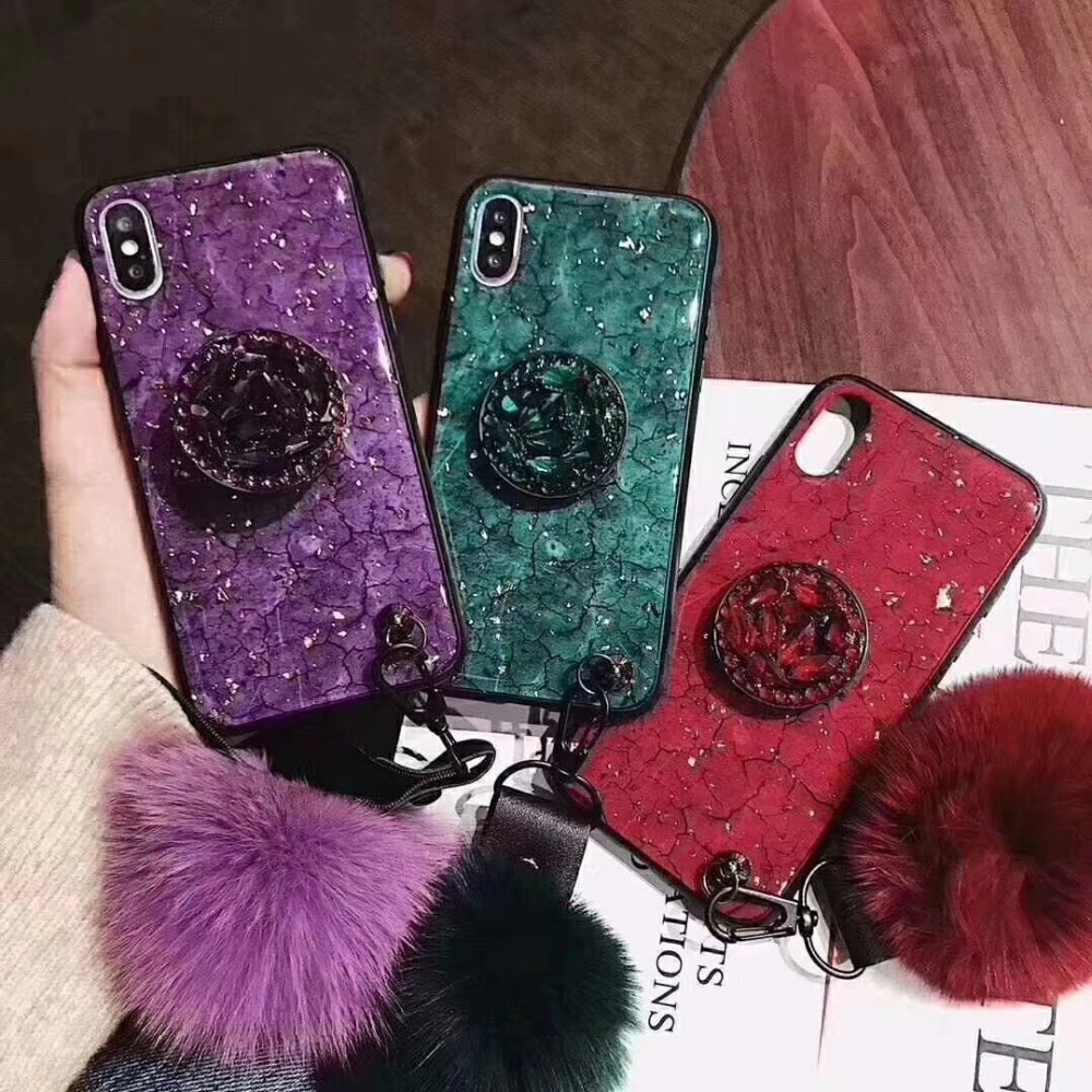 Epoxy Marble Fur ball Lanyard Airbag Shiny Diamond Stand Phone case for iphone X XR XS MAX 7 8 plus 6S 6 Hair Ball Cover case
