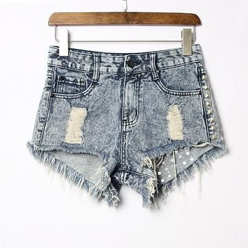 Short Jeans For Women Womens Cut Off Shorts Light Wash High Waisted Shorts Cut Out Jean Shorts