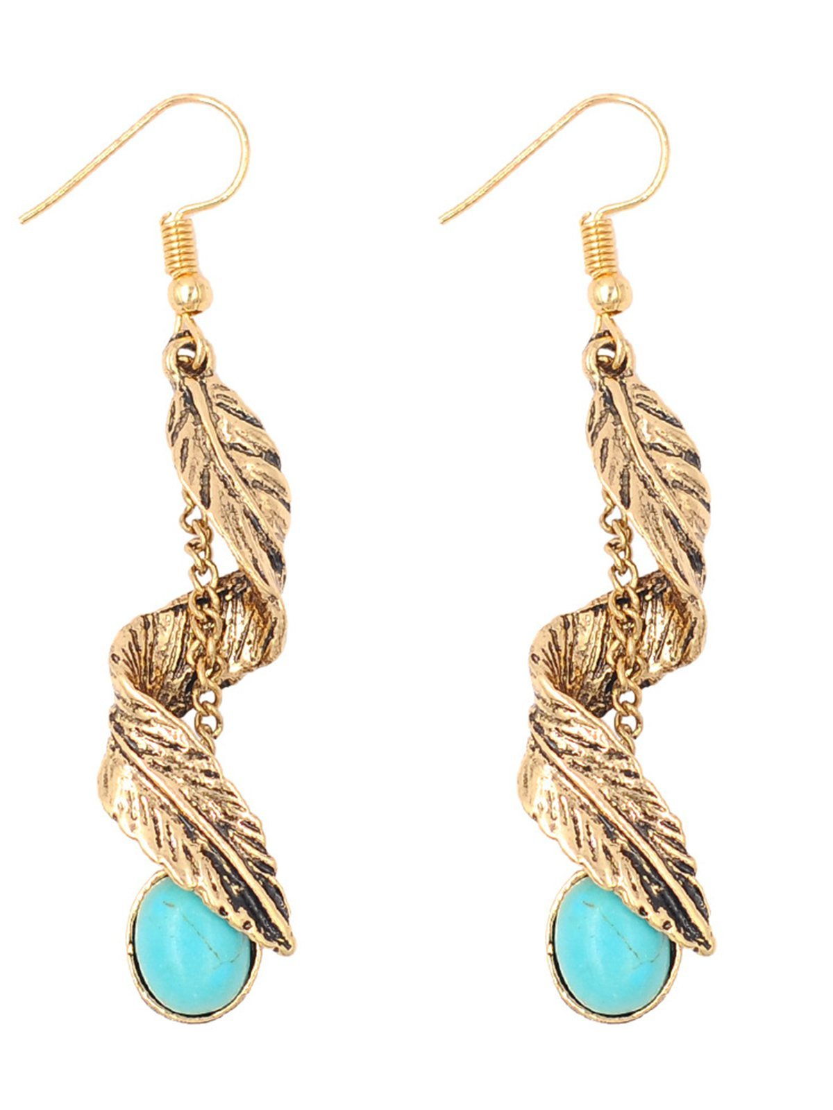 Vintage Ethnic Alloy Turquoise Leaf Fashion All-match Long Earrings