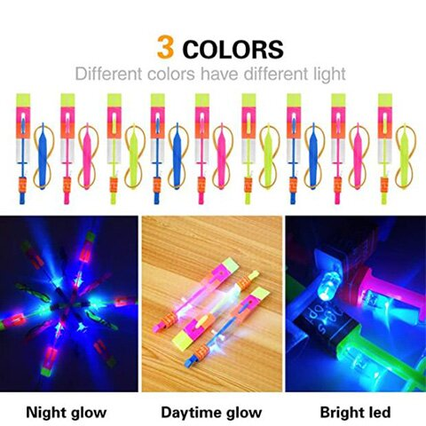 LED Helicopter Shooters (10-Pack Random Color)