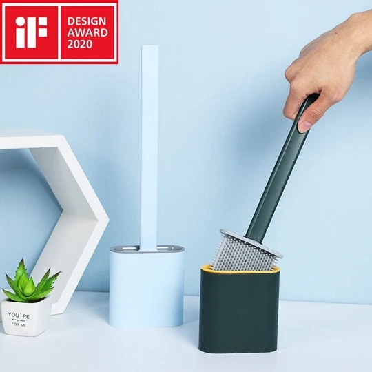 Toilet Brush and Holder Set for Bathroom, Deep-Cleaning Silicone Toilet Bowl Brush with Non-Slip Long Plastic Handle