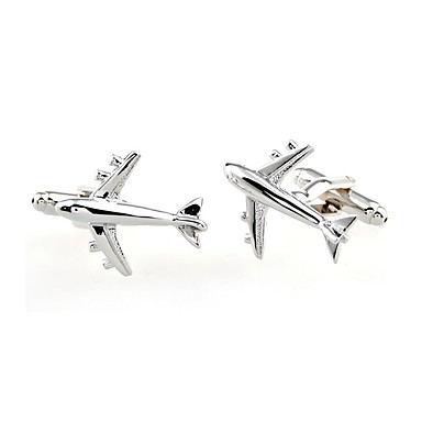 Cufflinks Airplane Formal Simple Brooch Jewelry Silver For Daily Formal