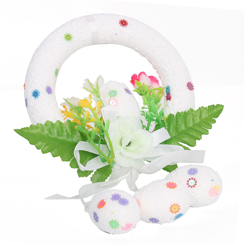 Easter Wreath With Mixed Flowers, Bow-knot And Eggs, Easter Egg And Mixed Flower Wreath