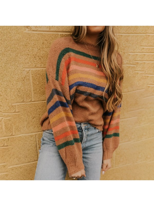 Vintage Long Sleeve Striped Round Neck Sweater
