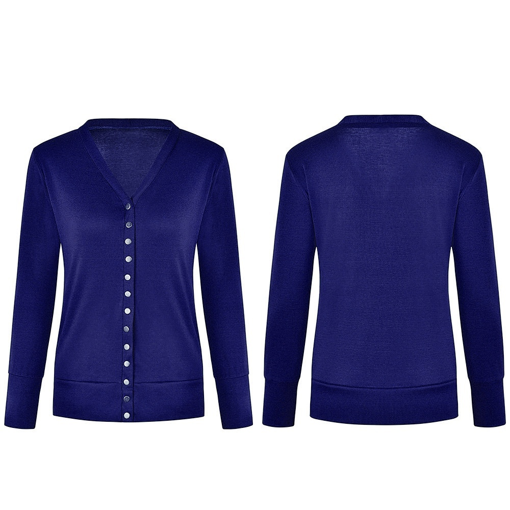 Women's V-Neck Solid Button Tops Long Sleeve Knit Casual Cardigans