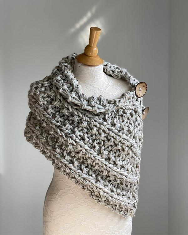 Buttons Hand Knitted Shoulder  Wrap