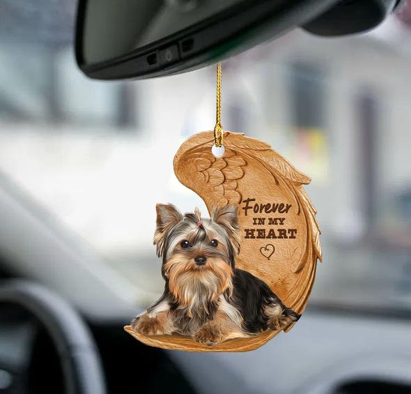 Yorkie forever in my heart hanging ornament