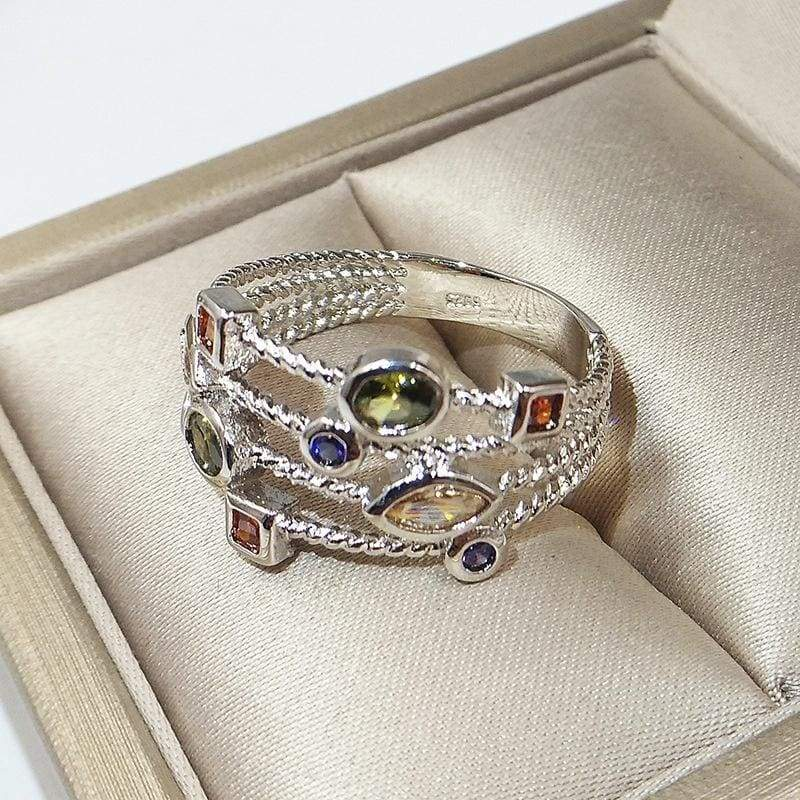 Luxury 925 Sterling Silver Natural Multicolor Zircon Gemstone Ring Birthstone Bride Wedding Engagement Anniversary Christmas Gift Ring Size 5-11 Bague Femme
