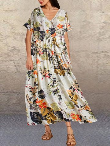 2020 Women Dress Casual Dress Print Latest Dress Designs Plus Size Business Casual Outfits