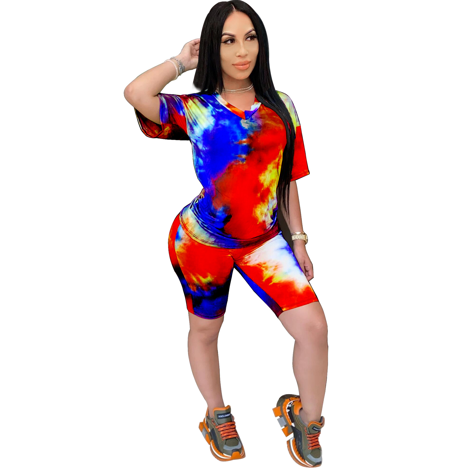 Plus Size Woman T-Shirt Biker Shorts Set Tie-Dyeing Print Short Sleeve Tracksuit Women Loungewear Femme