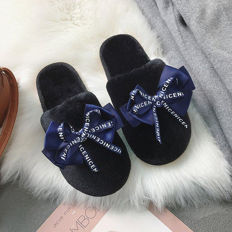 Women's furry home slippers fashion bowknot closed toe winter warm bedroom slippers