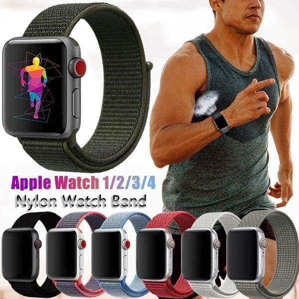 Fashion Apple Watch Adjustable Sport Band Compatible Watch Band 38mm 40mm 42mm 44mm Lightweight Breathable Soft Woven Nylon Wristband Replacement Strap for iwatch Series 4/3/2/1