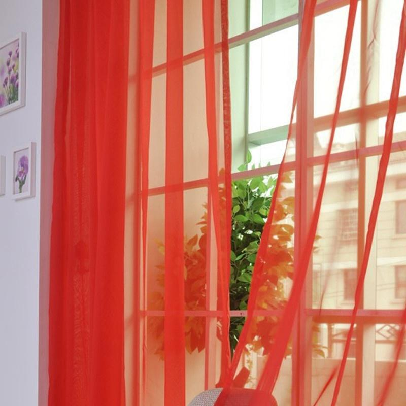 2 Panels Voile Curtains Slot Top Panels Sheers Curtain for Living Room