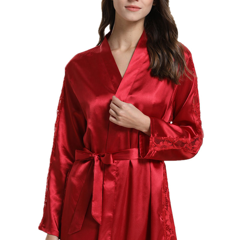 Silk lace trim with solid color robe