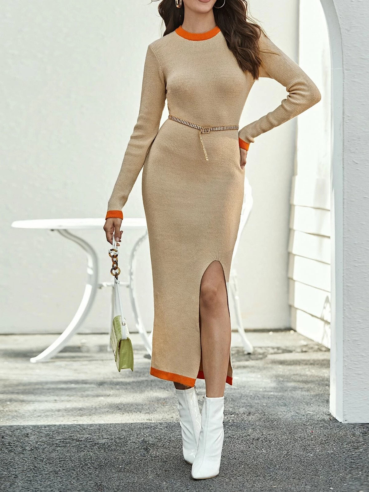 Female sexy round neck long-sleeved sweater dress with hip slit