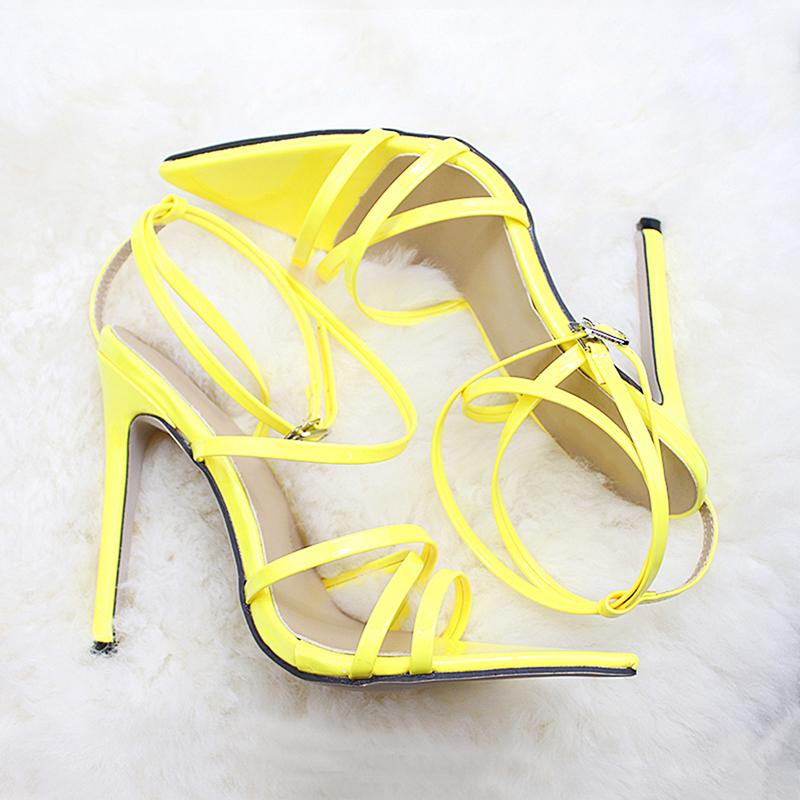 Super High 11.5cm Sexy Pointe Toe Thin High Heels Women Sandals Ankle Strap Heels