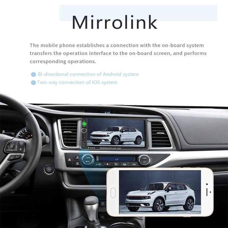 7Inch 2Din HD Car Video Player MP5 Touch Screen Digital Display Bluetooth Multimedia Mirror Link Radio Build-in Autoradio FM /AUX /USB /SD Function with Steering Wheel Control and Optional Camera