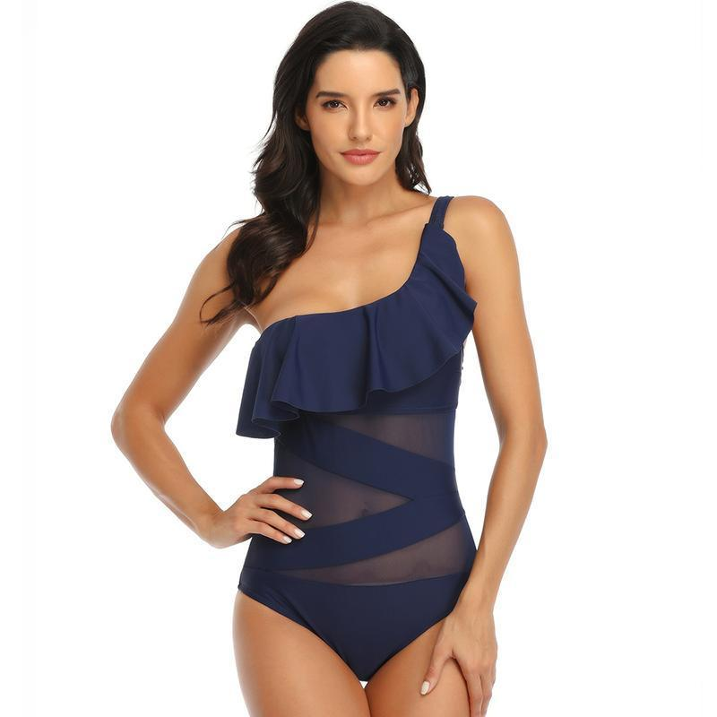 Lace Leaves Edge One Piece Swimsuit