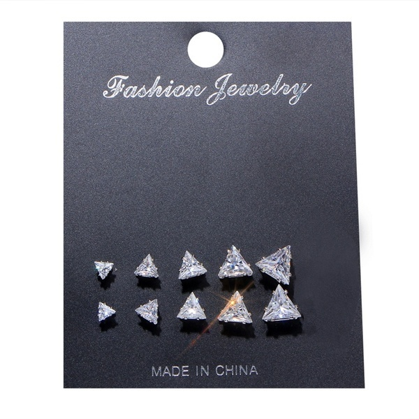 5Pairs Classic Crystal Fashion Cz Ear Stud Set Triangle Heart Round Square Geometric Crystal Earrings Set Charm Simple Women Alloy Silver Zircon Earring Sets  Wedding Jewelry Accessories Gifts