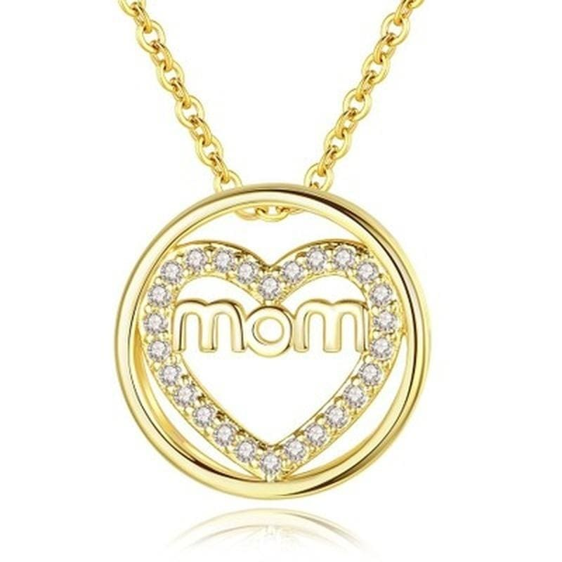 New Love MOM 18k Gold  Pendant Necklace for Mother Zircon Mom Heart-shaped Necklace Mom Birthday Present Christmas Gift