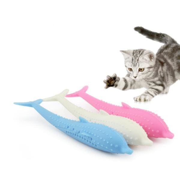 Silicone Fish Shape Cat Toothbrush Teething Toy with Catnip Pet Toys