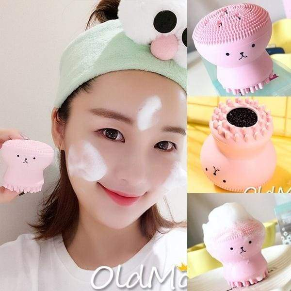 2PCS Face Cleaner Facial Brush Cute Octopus Spot Acne Blackhead Little Massage Soft Face Cleansers Silicone Wash Brushes