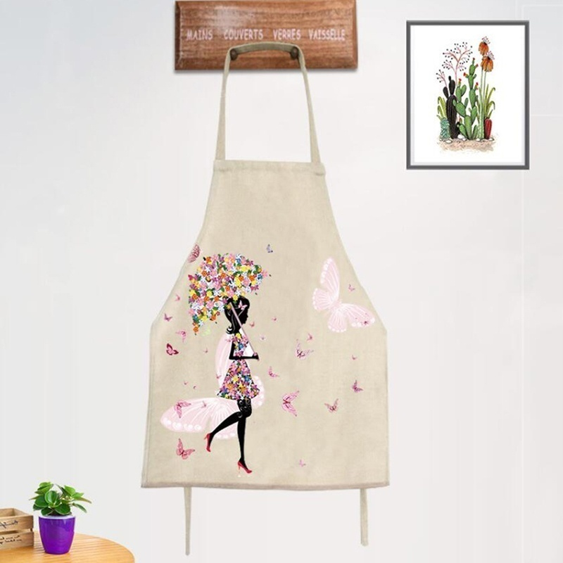 Kitchen Cooking Apron Creative Cartoon Sleeveless Oil-proof Home Cleaning Apron Overalls