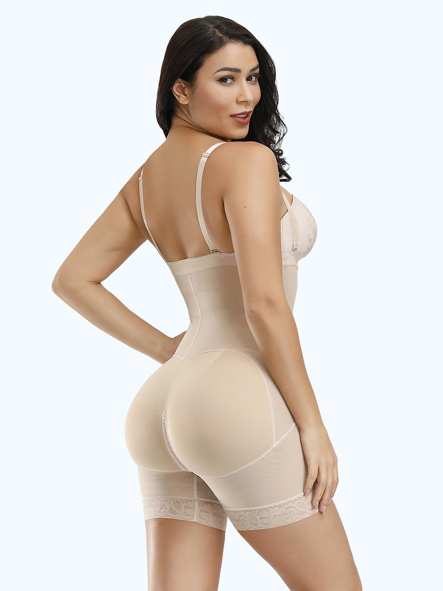 okiwilldo Detachable Straps Full Body Shaper Zipper Abdominal Control