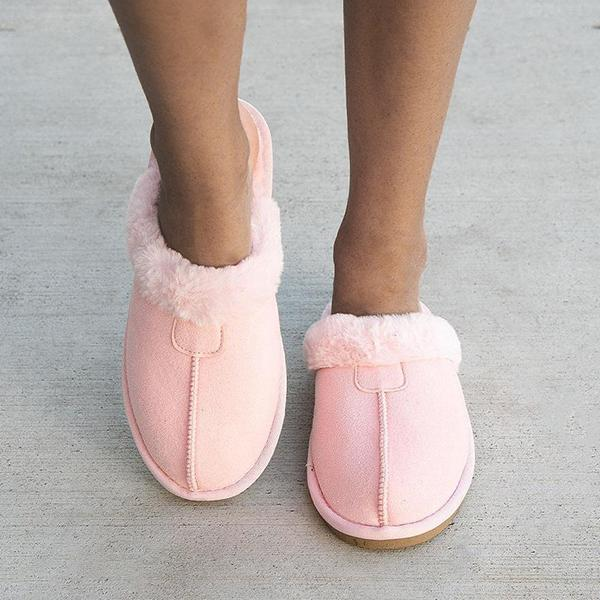 Faddishshoes Cozy Fuzzy Outside Suede Slide Slippers
