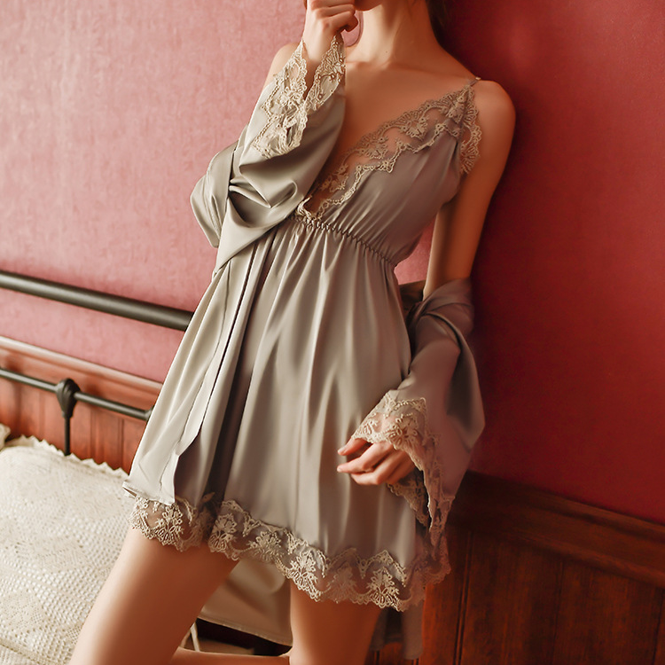 ✨NEW IN✨🔥Buy 1 Get 1 Free 🔥Women Sexy Ice Silk Thin Lace Pajamas